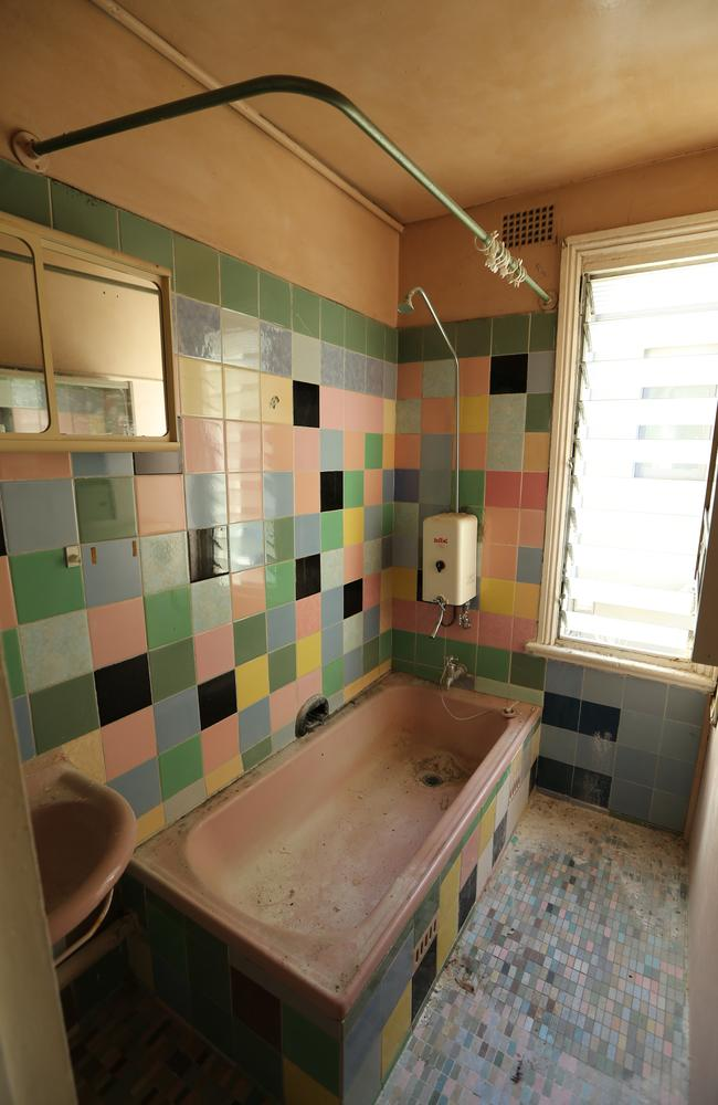 Bathroom of the four bedroom house which had buyers flocking to see with a view to a total renovation. Picture: Tim Hunter.