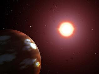 NASA/JPL artists impression of newly discovered Neptune-sized extrasolar planet orbiting star Gilese 436. exoplanet