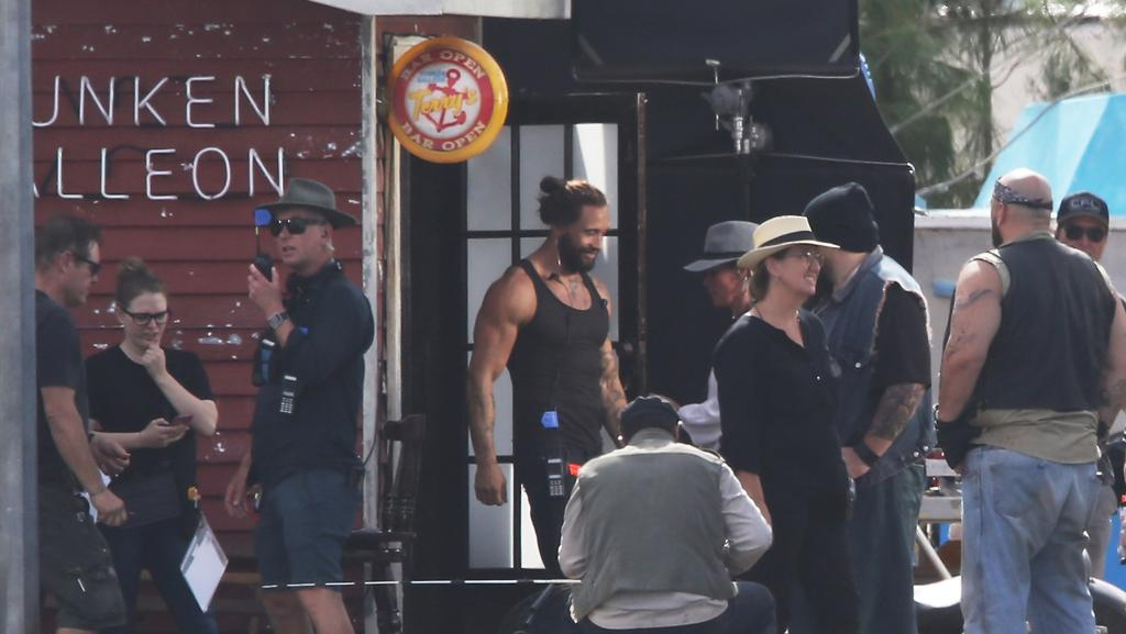Bikies take over the Gold coast again, but this time its actors playing the part during filming for Aquaman at a ready made set at the Spit. Picture Glenn Hampson