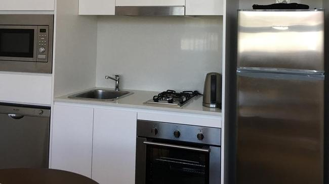 The serviced apartment's kitchen facilities.