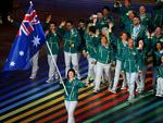 Flag bearer and cyclist Anna Meares of Australia leads the Australian athletes during the Opening Ceremony for the Glasgow 2014 Commonwealth Games at Celtic Park on July 23, 2014 in Glasgow, Scotland. (Photo by Hannah Peters/Getty Images)