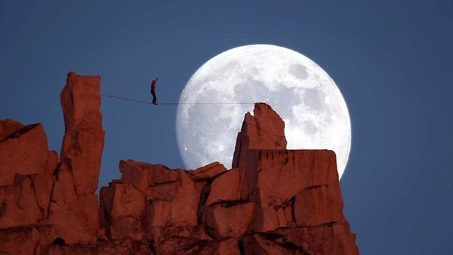 Ultimate Moonwalk: free climber Dean Potter tackles the USA's Cathedral Rock, at night. Picture: Real Water Productions