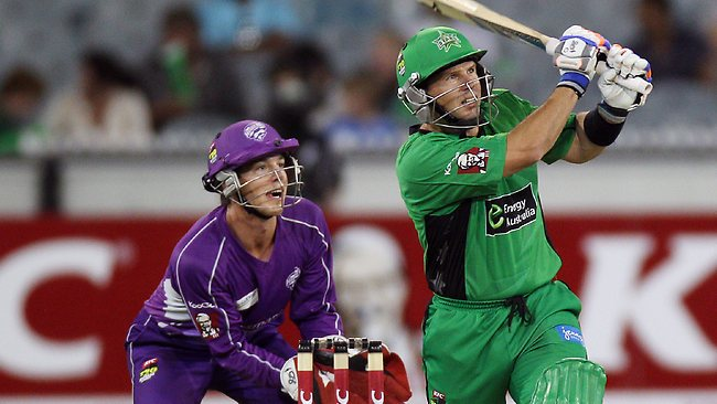 The Melbourne Stars' Brad Hodge dispatches Scott Styris for six. Picture: Michael Klein