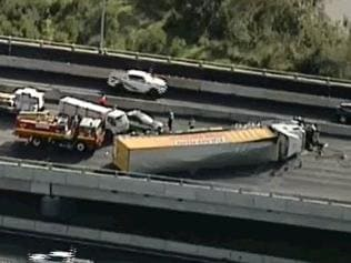 Truck rollover on the Western Ring Road. Picture: