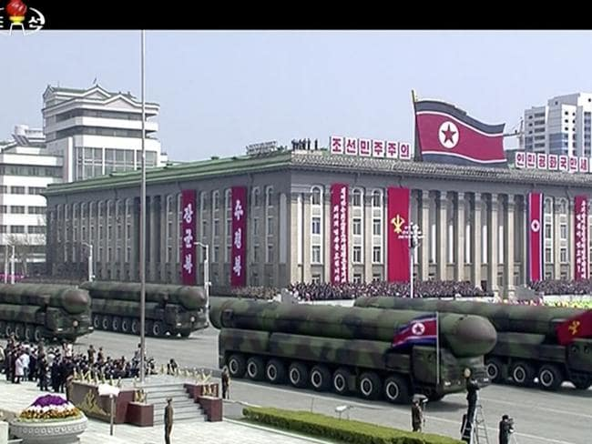 Missiles are displayed during a parade celebrating the birthday of Kim Jong Un's late grandfather and North Korea founder Kim Il Sung. Picture: KRT