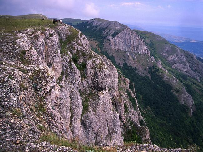 Rugged ... the Crimean Peninsula juts into the Black Sea, all but an island except for a narrow strip of land in the north connecting it to the mainland.