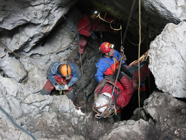 Underground ... Johann Westhauser suffered serious head injuries in an accident 1000 metres below ground in the Riesending cave complex, Germany's longest and deepest. Picture: AFP PHOTO / BERGWACHT BAYERN/ MARKUS LEITNER