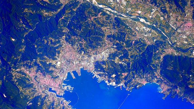 Image of La Spezia, Italy taken by NASA astronaut Scott Kelly who Tweets out photos every day from the International Space Station during his Year in Space. Picture: Scott Kelly.