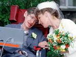 Professor Stephen Hawking with wife Elaine Mason after marriage ceremony at Cambridge Register Office 15 Sept 1995. Picture: Supplied