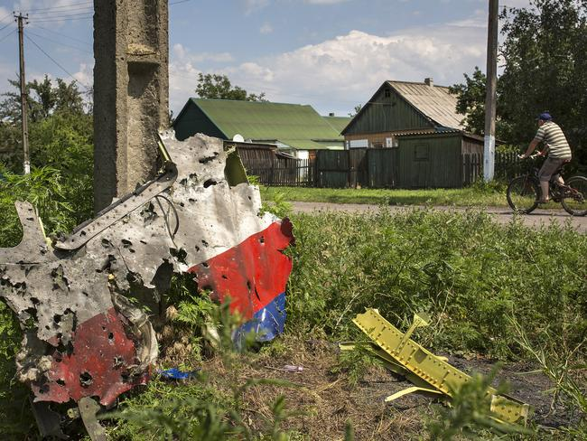 'Machine gun-like holes' ... A cyclist passes a piece of MH17 wreckage in Petropavlivka, Ukraine. Picture: Getty