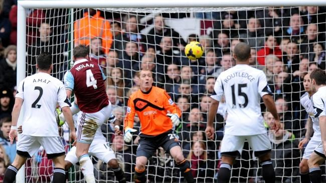 Kevin Nolan rises unmarked for West Ham's second goal.