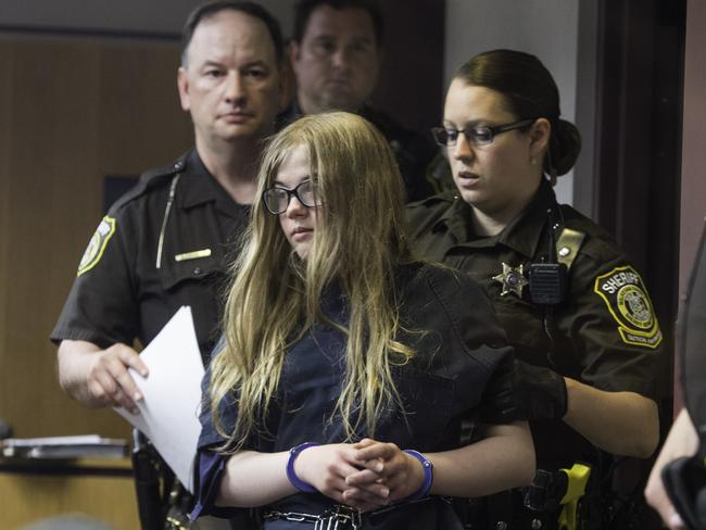 Morgan Geyser, front, was charged with the Slender Man attack. Picture: AP/Abe Van Dyke