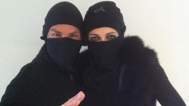 Twitter pic from Shane Warne showing the couple getting ready for Halloween. Picture: Shane Warne/Twitter