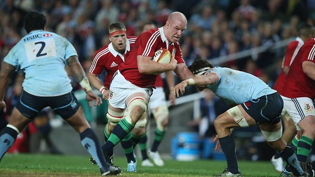 Lions lock Paul O'Connell charges upfield against the Waratahs. Picture: David Rogers
