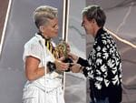 Pink accepts the Michael Jackson Video Vanguard Award from Ellen DeGeneres onstage during the 2017 MTV Video Music Awards at The Forum on August 27, 2017 in Inglewood, California. Picture: Getty