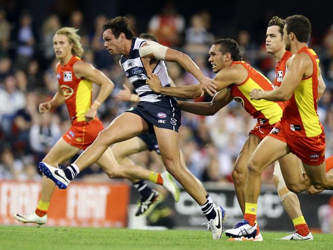 Bennell didn't chase too many Cats — except Steven Motlop on this occasion. Picture: Richard Gosling