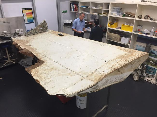 A large piece of debris found in Tanzania recently which has been confirmed as a part of a wing flap from missing Malaysia Airlines passenger jet MH370. Picture: ATSB/AFP