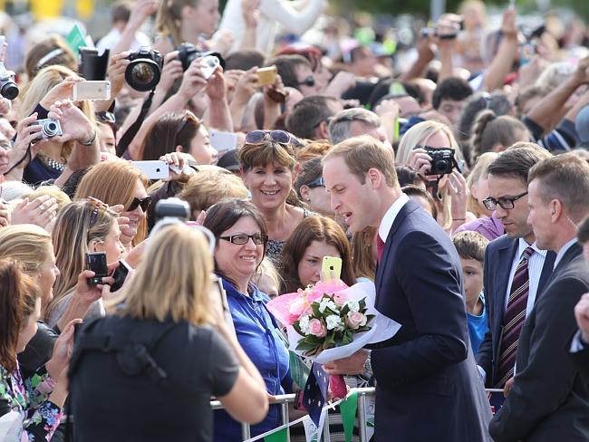 William greets crowds at the Edinburgh RAAF Base in Northern Adelaide. Picture: Calum Rob