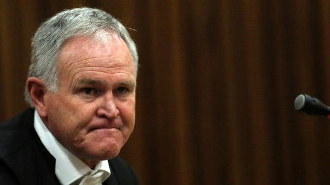 Defending him ... Barry Roux, lawyer for murder accused, Oscar Pistorius, sits in court in Pretoria, South Africa. Picture: AP