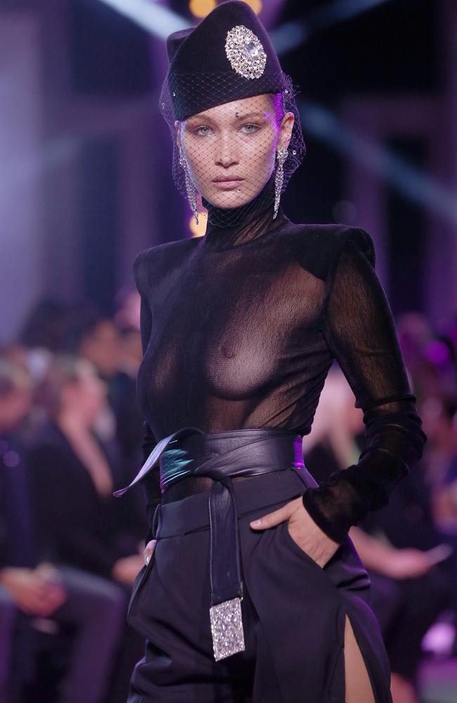 Bella Hadid, another lover of going braless. Picture: Thierry Chesnot/Getty Images