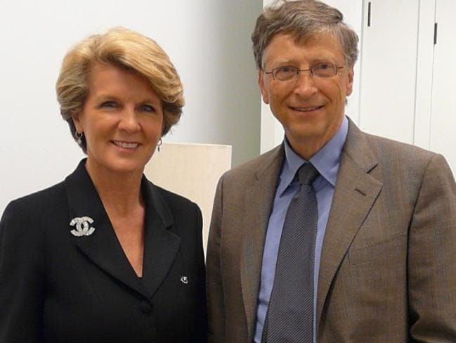 Bill Gates with Australian Foreign Minister Julie Bishop. Picture: Instagram