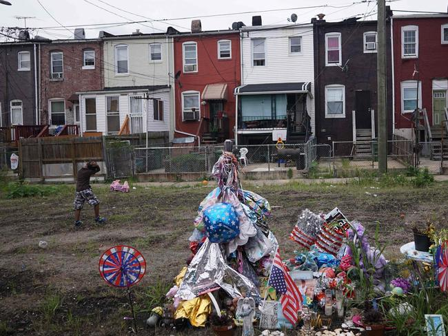 A memorial for shooting victim Ashley Long in east Baltimore's McElderry Park. Picture: MANDEL NGAN
