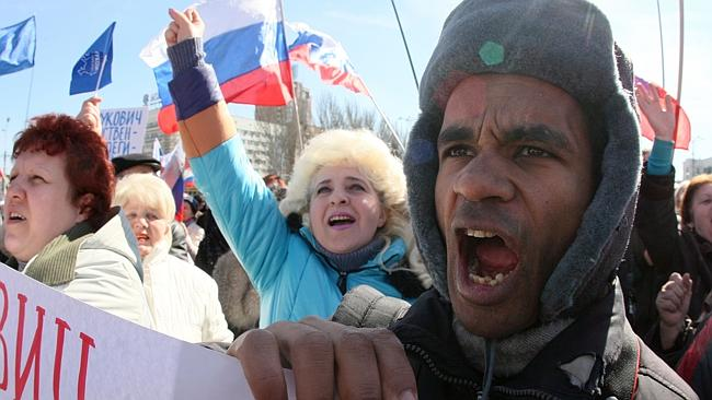 Pro-Russia... Protesters at a rally in Donetsk on Saturday. Picture: Alexander Khudoteply/AFP