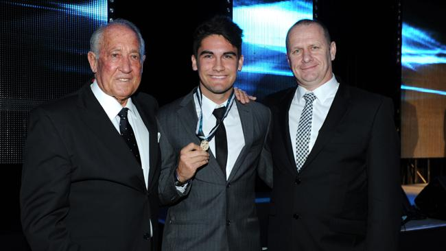 John Cahill Medal winner Chad Wingard with John Cahill and Port Adelaide coach Ken Hinkley.