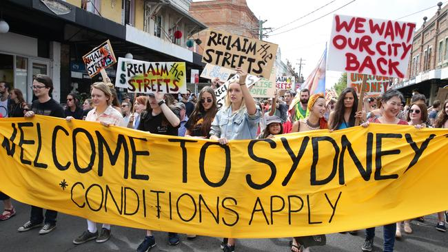 Protesters in Sydney's inner west suburb Newtown rail against lockout laws. Picture: Craig Wilson