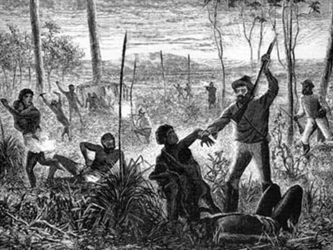 An artwork depicting the massacre of Aborigines during white settlement.