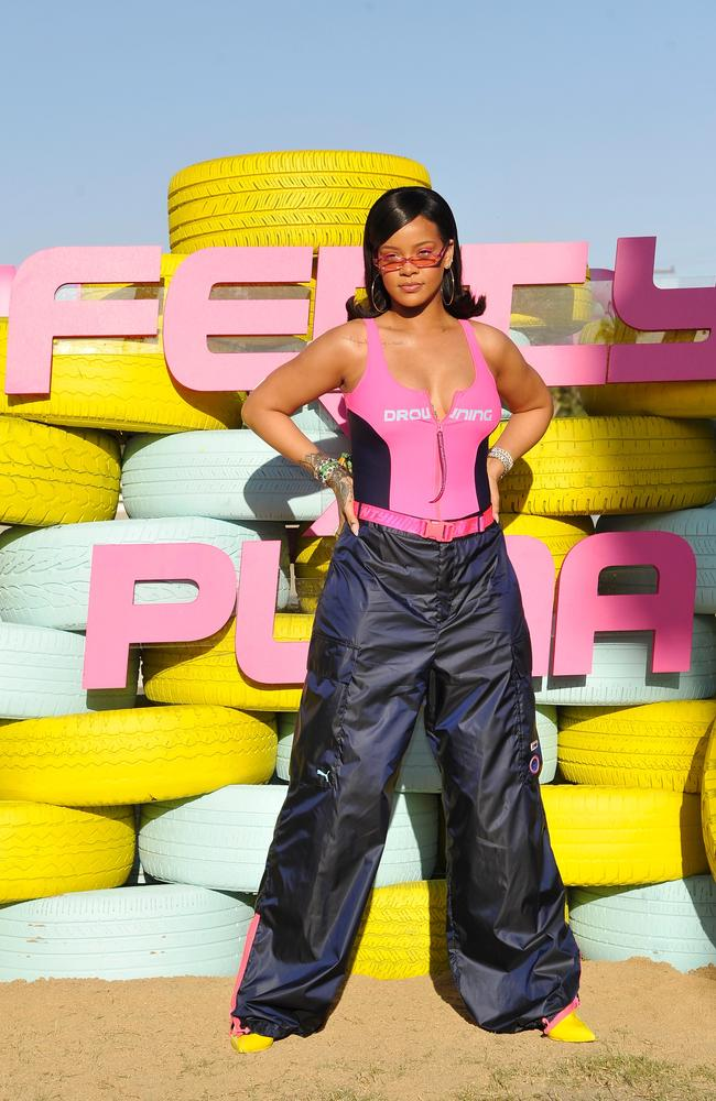 Rihanna at the FentyXPUMA Drippin day party, which launched her summer '18 collection. Picture: Getty Images