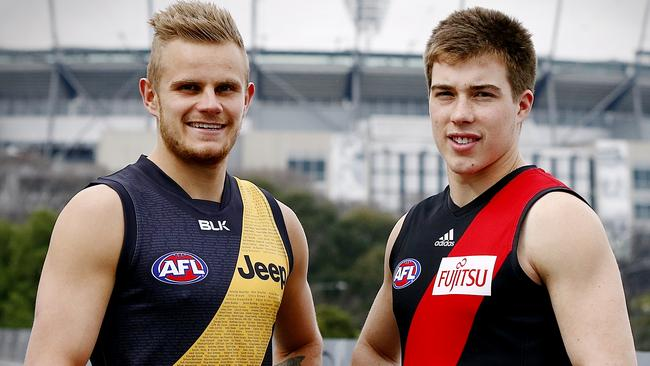 Brandon Ellis and Zach Merrett ahead of Richmond and Essendon's crucial Round 20 clash. Picture: Wayne Ludbey.
