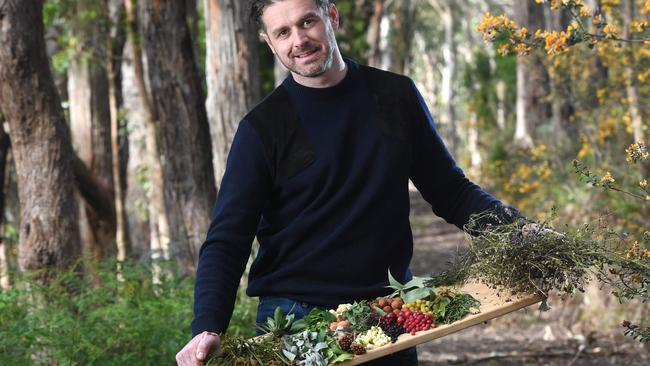 Chef Jock Zonfrillo at his Summertown property with native ingredients. Photo: Tricia Watkinson