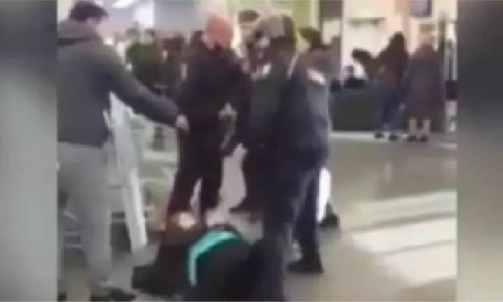 Shocking footage of pregnant woman beaten after being accused of stealing
