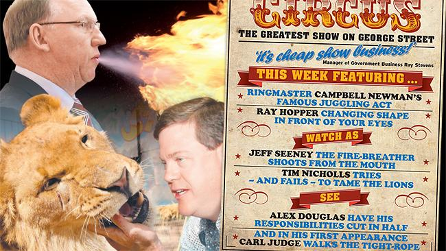 The rolling Caravan of Chaos this week has left Premier Campbell Newman to juggle a series of growing problems for the Government, which is adamant it wants rookie MP Carl Judge kicked out of the party.