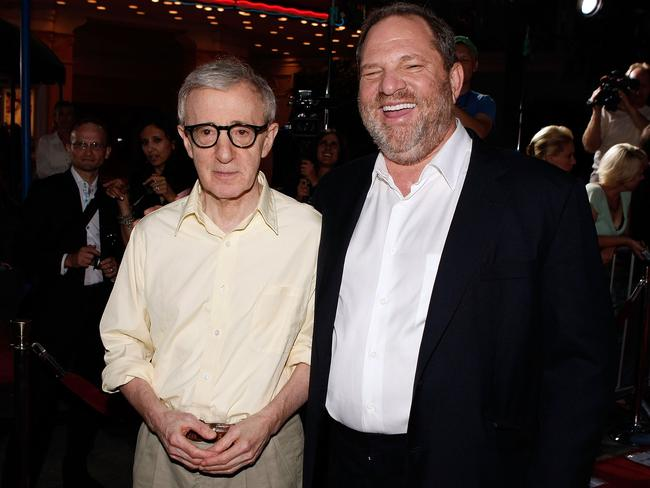 """Untouchable: Harvey Weinstein (right) with US director Woody Allen at the Los Angeles Premiere of """"Vicky Cristina Barcelona"""". Picture: Kevin Winter/AFP/Getty"""