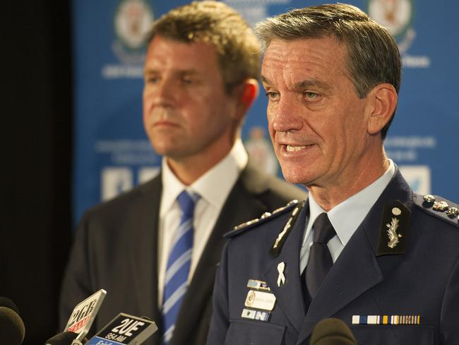 NSW Premiere Mike Baird and Police Commissioner Andrew Scipione address the media from the NSW Police executive offices. Picture: News Corp/ Melvyn Knipe