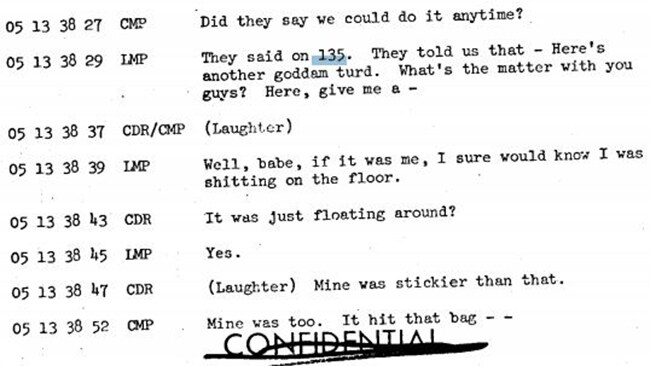 Floating human waste, Apollo 10 transcript