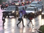 Rain made for hazardous road conditions in Brisbane's CBD. Pic: Adam Smith