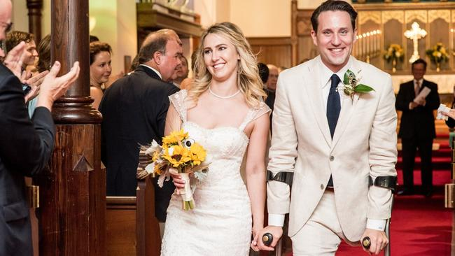 Newlyweds ... Josh Sundquist married his now-wife, Ashley, last month. Picture: Josh Sundquist/Facebook