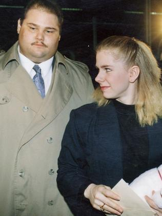Tonya Harding with her bodyguard Shawn Eckardt in 1994. Picture: AP