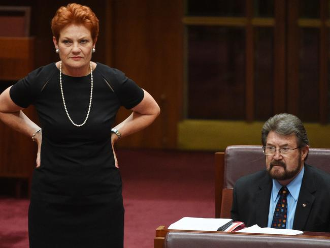 One Nation leader Senator Pauline Hanson and Justice Party Senator Derryn Hinch have traded barbs on Sunrise. Picture: AAP