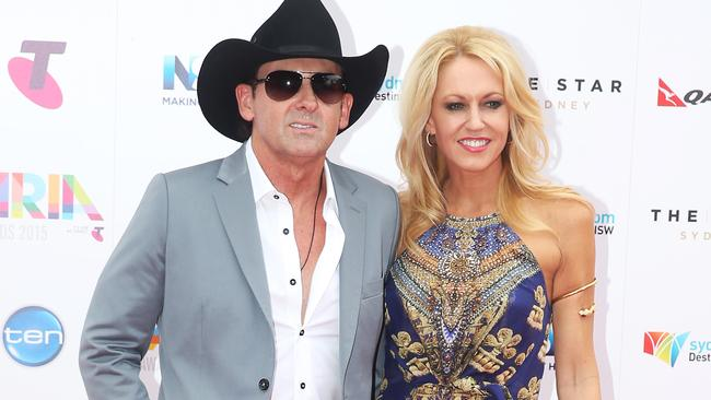 Victorius ... Lee Kernaghan and wife Robyn McKelvie, after winning the Outstanding Achievement Award. Picture: Dylan Robinson