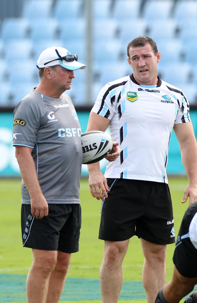 Peter Sharp with Paul Gallen at training.