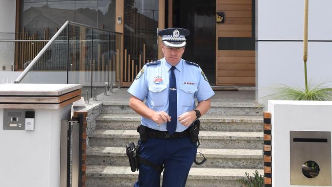 NSW Police at the home of the former Auburn deputy mayor in November. Picture: AAP Image/Dean Lewins.