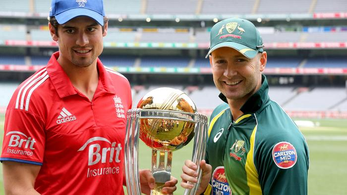 Alastair Cook (L) and Michael Clarke could end up sharing the World Cup trophy. Picture: Wayne Ludbey.