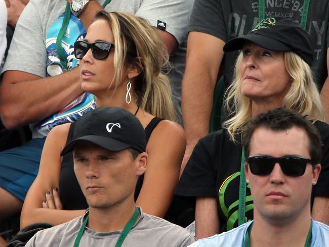Lleyton Hewitt's wife Bec Hewitt and his mother Cherilyn watch his men's singles second round match against Jerzy Janowicz. Picture: Steve Bardens