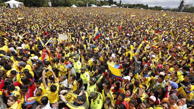 Part of the huge crowd in Bogota that turned out to welcome home the Colombian team after their World Cup exploits.