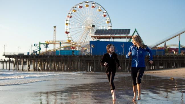 Having fun on the beach at Santa Monica. Picture: Supplied
