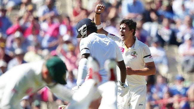 Mitchell Starc dismissed Angelo Mathews, caught at slip by Mike Hussey. Picture: Brett Costello